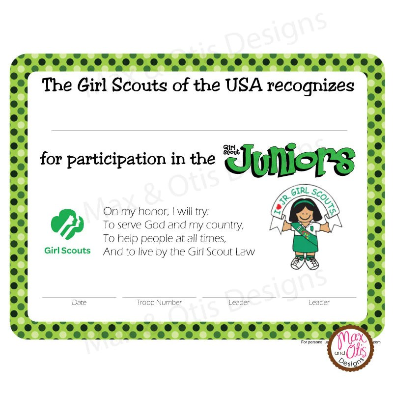 Girl Scout Certificate Template Printable