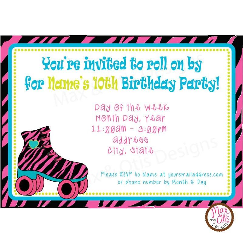 roller skate birthday party custom invitation printable max otis designs