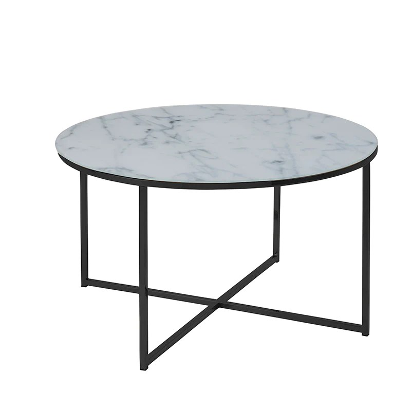 kolina glass marble round coffee table 80cm white living room furniture coffee tables consoles tables occasional tables modern furniture