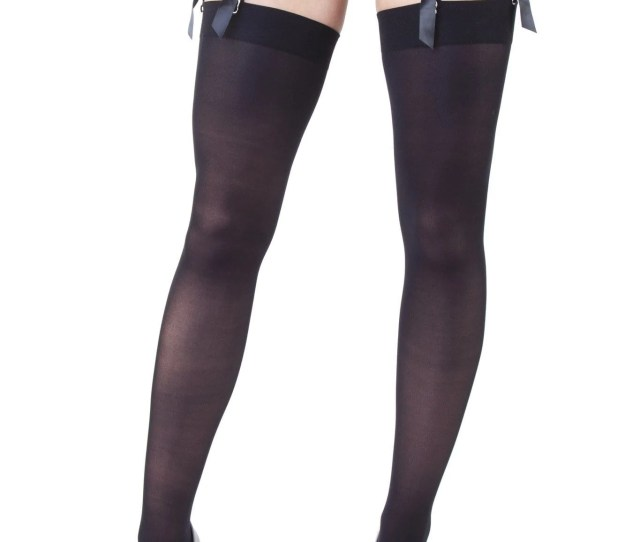 Playful Promises Opaque Seamed Stockings Red Black