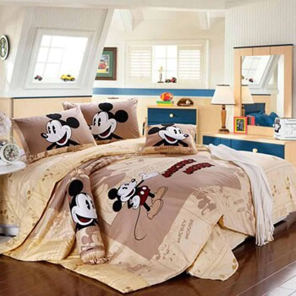 mickey mouse friends goofy egyptian 100 cotton bed linen twin full queen king bedroom decor brown bedding sets luxurious mmf1