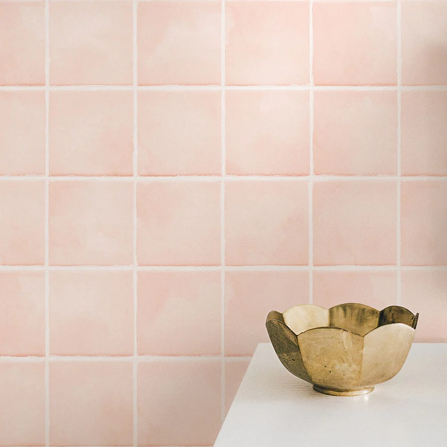 light coral color tiles removable wallpaper
