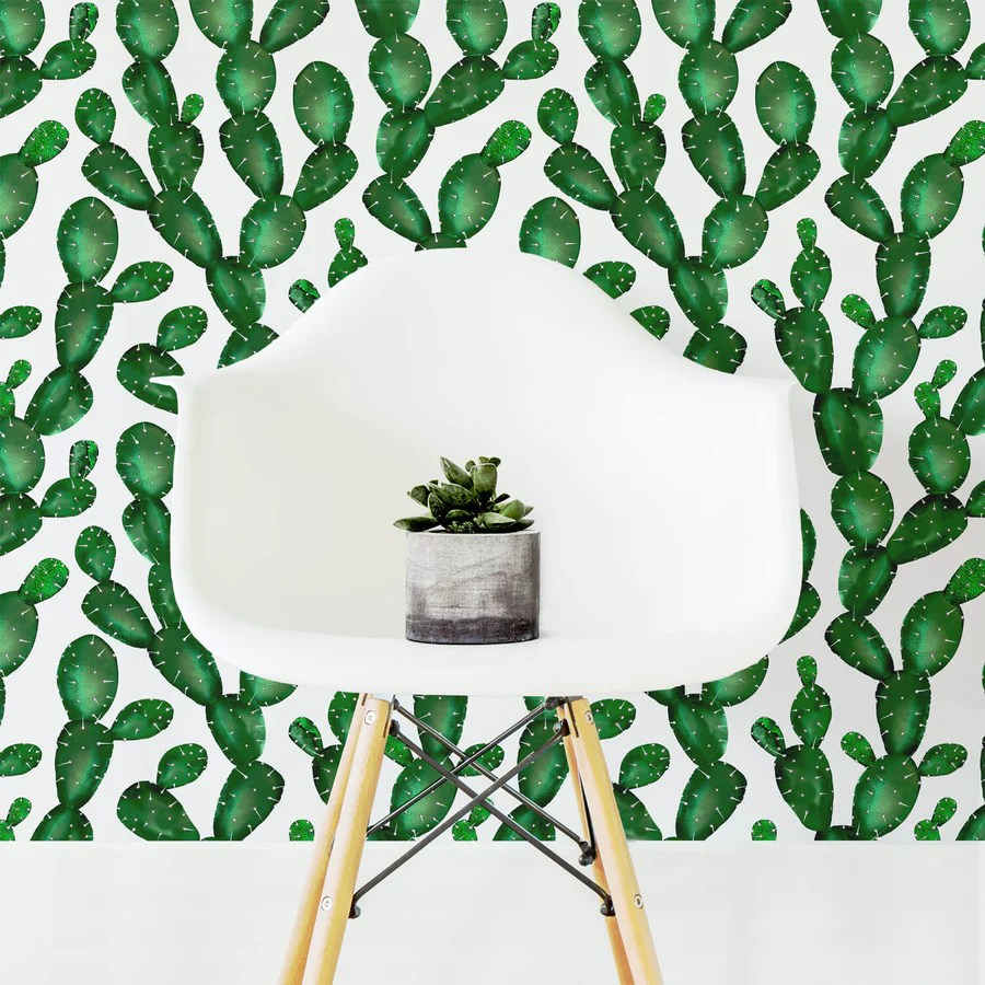 Watercolor Cactus Removable Wallpaper In Emerald Color By Livettes