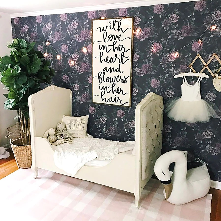 Dark Floral Wallpaper For Baby Nursery Interior By Livettes