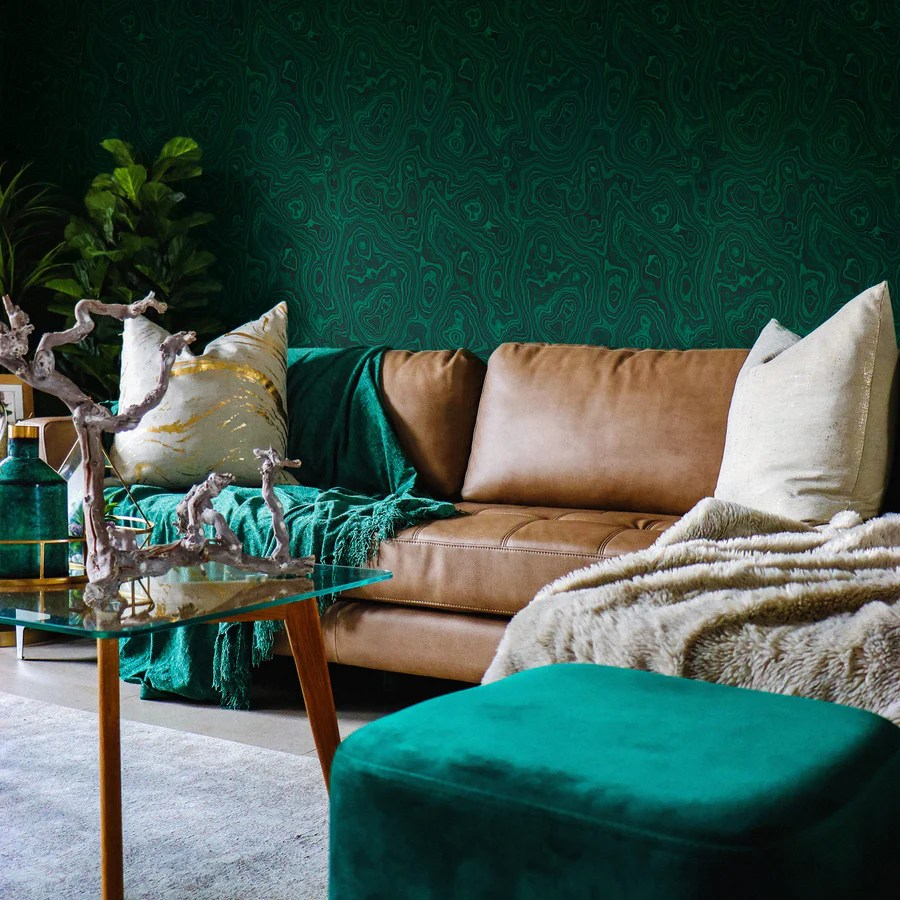 Emerald Green Malachite Wallpaper By Livettes