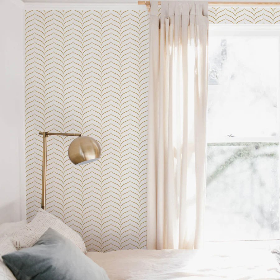 Faux Gold Chevron Wallpaper Removable And Traditional Livettes