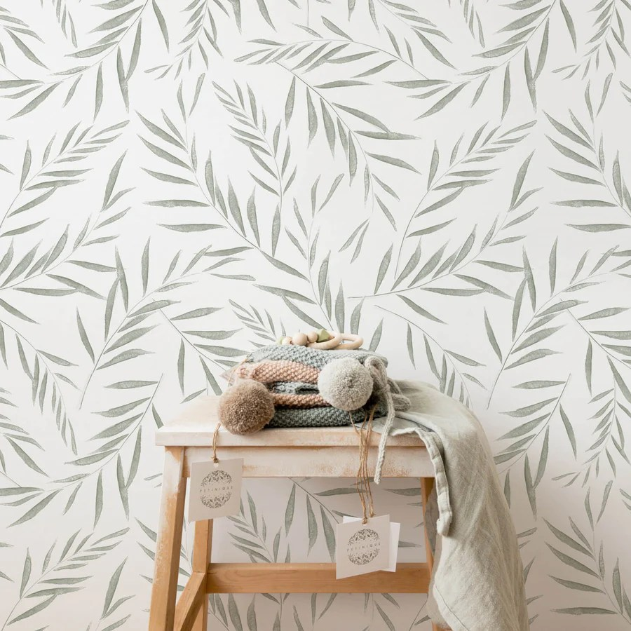 Light Green Olive Tree Leaves Removable Wallpaper By Livettes