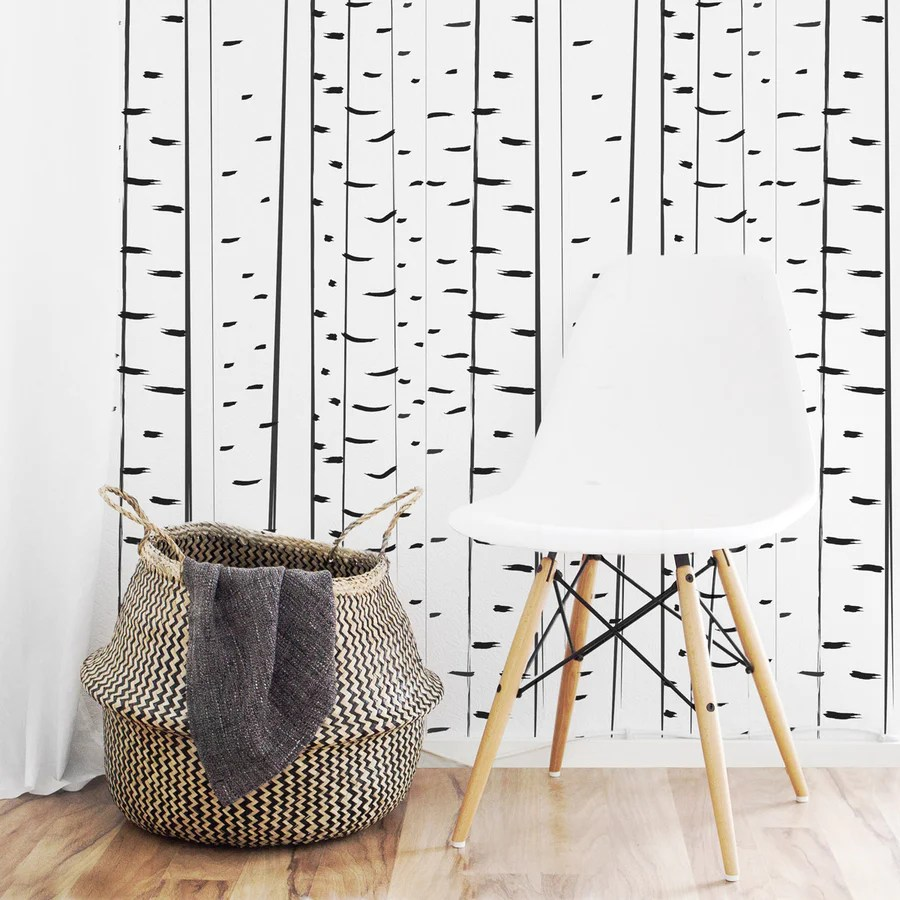 Birch Tree Removable Wallpaper By Livettes