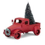 Homestead Christmas Red Farm Truck With Tree And Wreath Modern Rustic Home