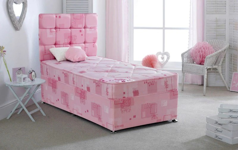 Pretty Pink Divan Set Bedsmart Girls Single Bed Bedsmart