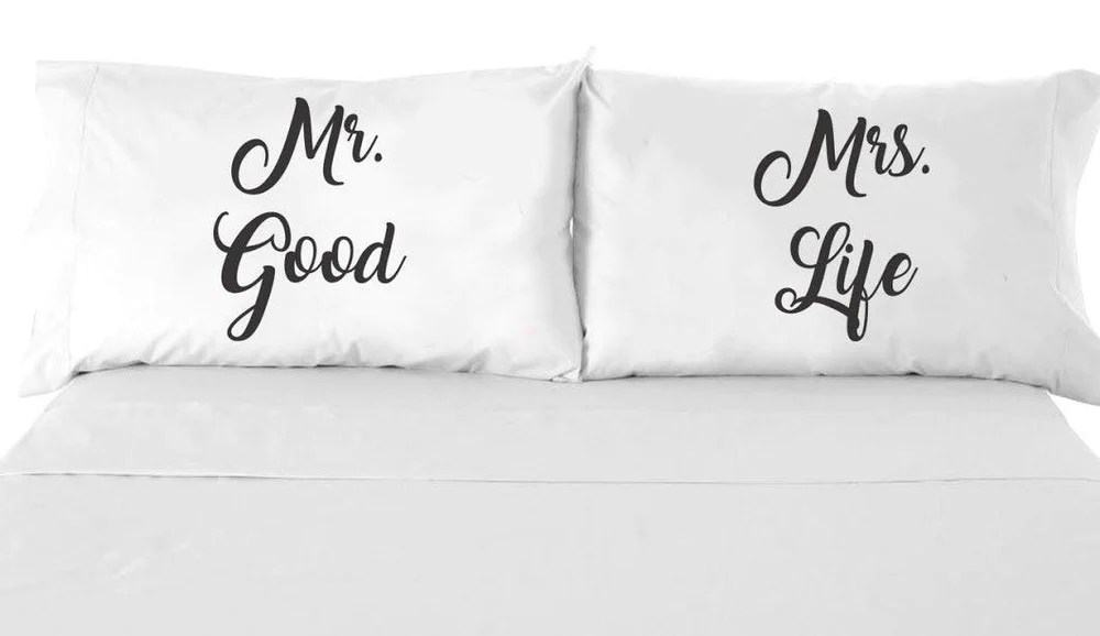mr good and mrs life couple pillow case wedding anniversary gifts set of 2