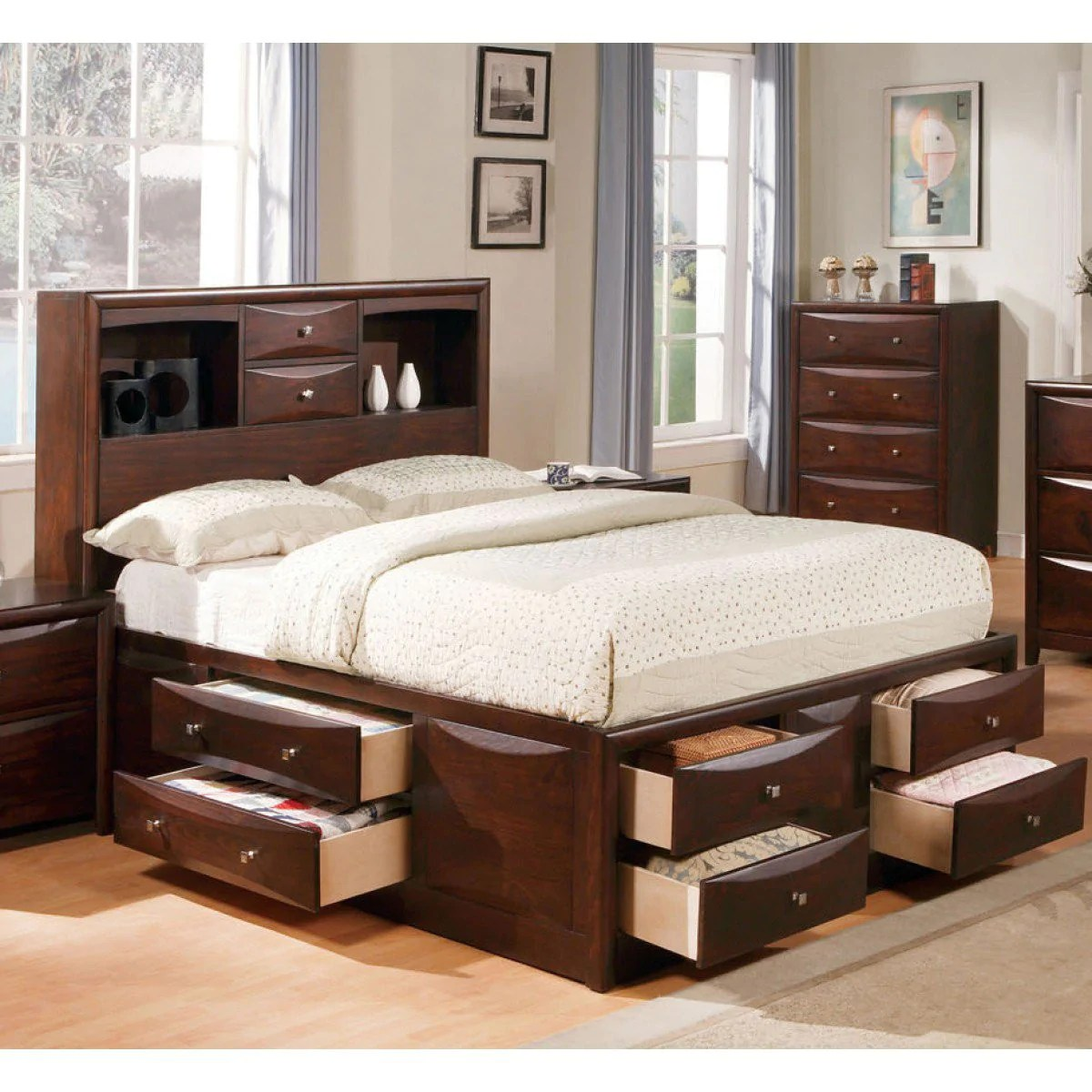 Acme Manhattan California King Bed W Storage Espresso 04064ck Hipbeds Com