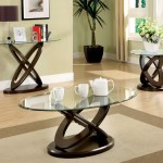 Furniture Of America Caliyah Round Glass Top Coffee Table Dark Walnut Hipbeds Com
