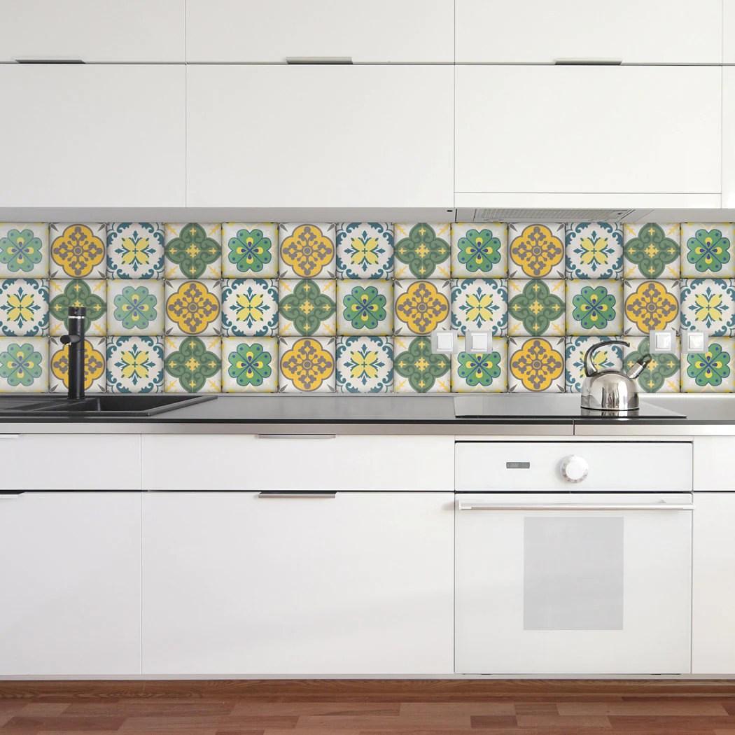 moroccan tiles stickers set of 4 tiles tile decals art for walls kitchen backsplash bathroom accent kitchen