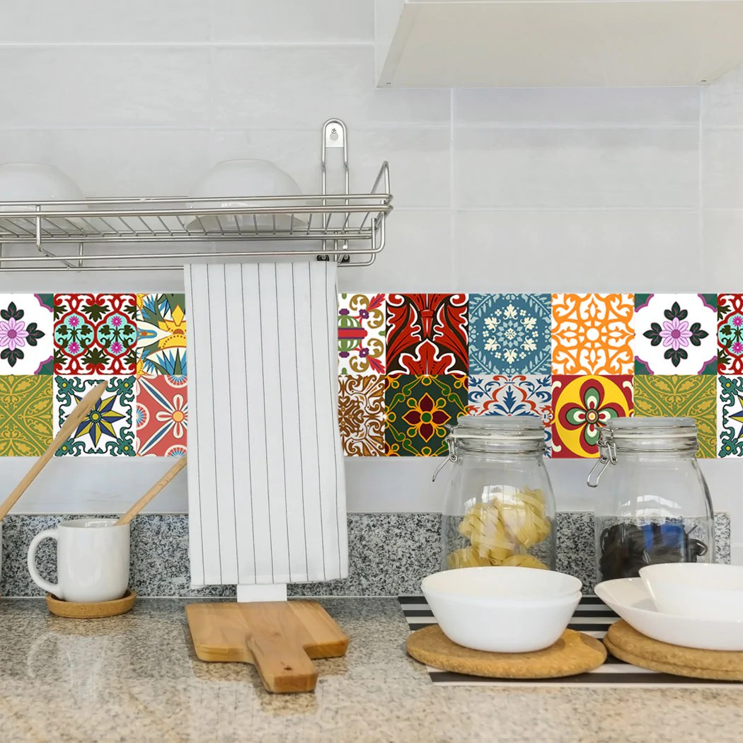 tile decals lublin set of 16 self adhesive peel and stick tile stickers for backsplash bathroom kitchen home decor