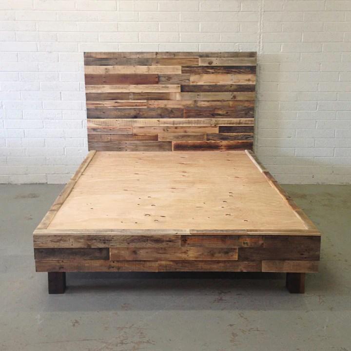 reclaimed wood platform bed kase custom