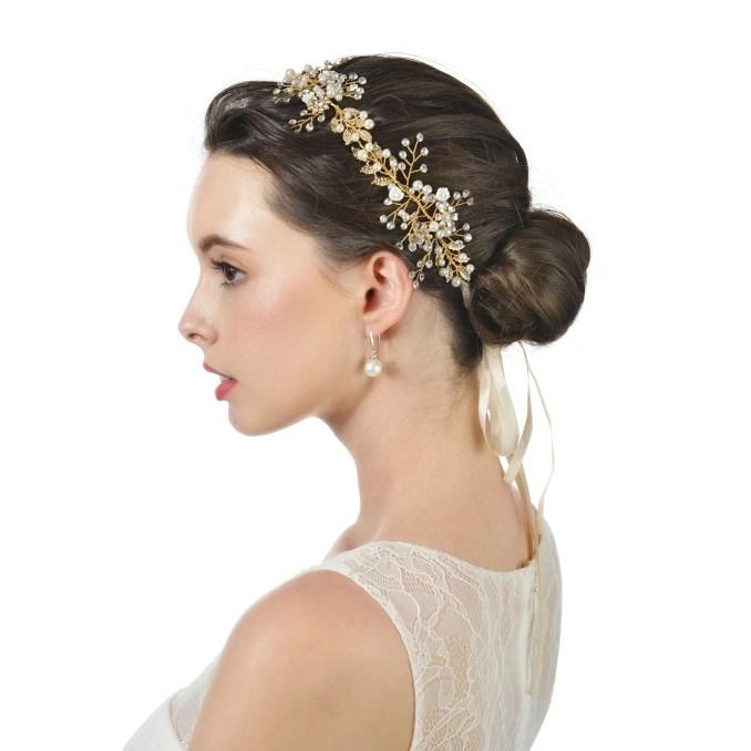 aw bridal hair vine crystal wedding headband for bride gold wedding hair  accessories with soft ri