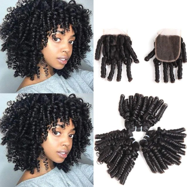 brazilian virgin funmi hair curl wave 4 bundles spiral curl hair bundles short curly weave unproc