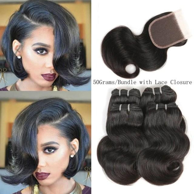 peruvian short hair virgin body wave bundles 50g/bundles with closure bob weave human hair short