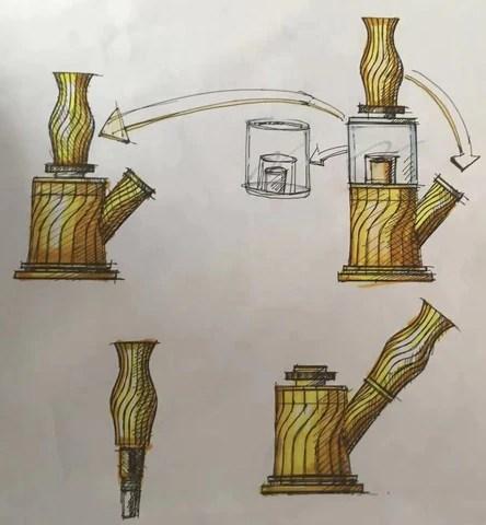 Design Manuscript of Waxmaid 4-IN-1 Double Percolator Water Pipe