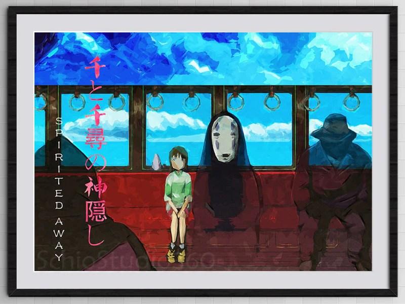 spirited away poster chihiro and no face train scene inspired poster from hayao miyazaki s movie digital painting print kid s room decor