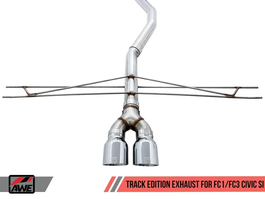 awe tuning track edition exhaust 2017 honda civic si coupe sedan