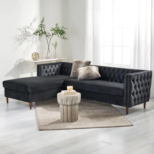 contemporary tufted velvet sectional
