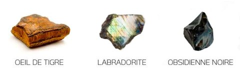 Bracelet en Labradorite, Oeil de Tigre et Obsidienne Noire