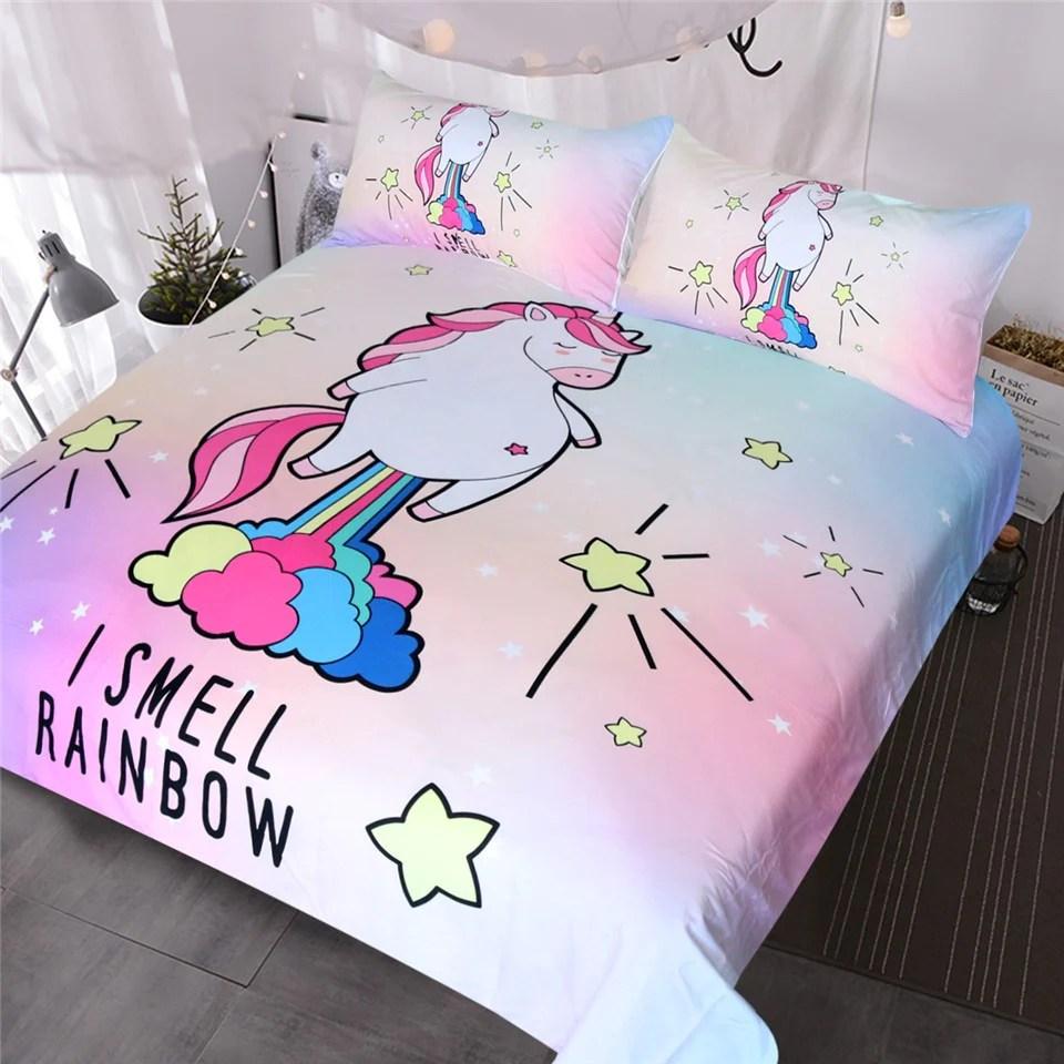 Beddingoutlet Cute Unicorn Bedding I Smell Rainbow Duvet