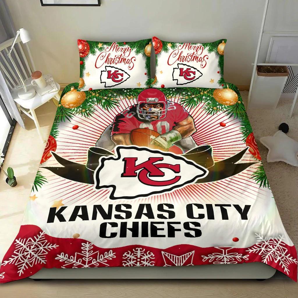 funny gift shop merry christmas kansas city chiefs bedding sets