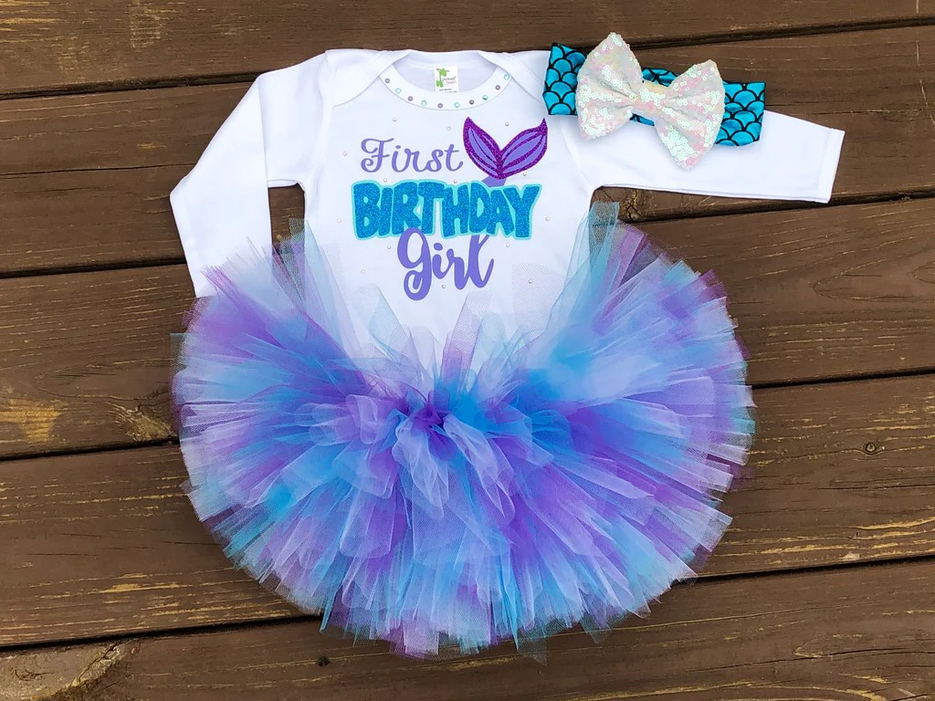 First Birthday Girl Mermaid Tutu Outfit Paisley Bows