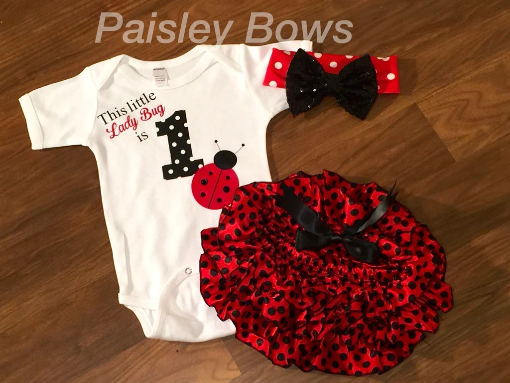 Ladybug First Birthday Skirted Bloomer Outfit Paisley Bows