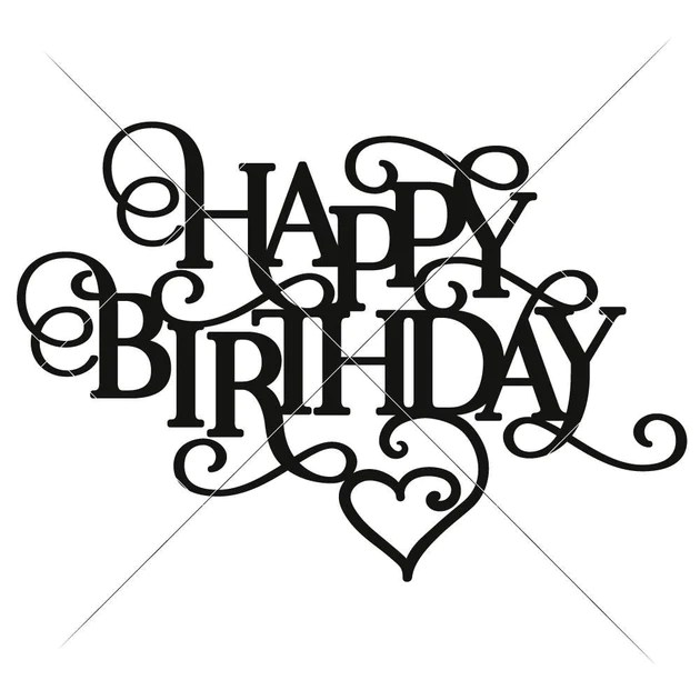 Download Happy Birthday with Heart svg png dxf eps | Chameleon ...
