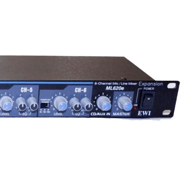 ewi ml 620e 6 channel rack mountable 1ru mic line mixer