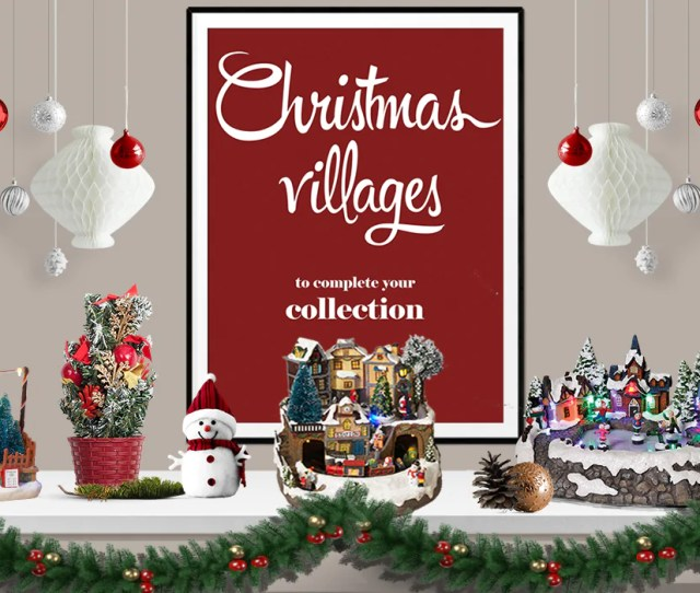 Shop Beautiful Lighted And Animated Holiday Christmas Villages From Victorian House Scenes With Lights And Sounds To Towns With Animated Ice Skaters And