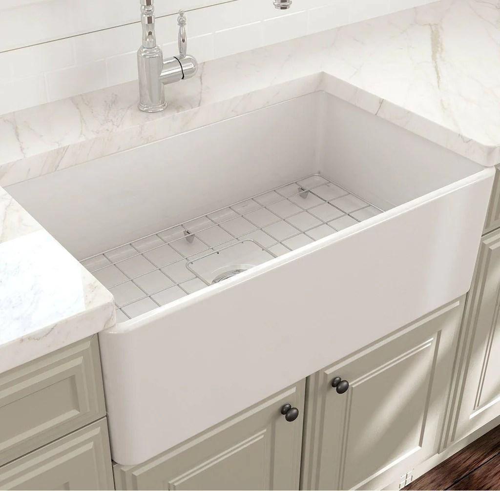 bocchi classico 30 white single bowl fireclay farmhouse sink with free grid