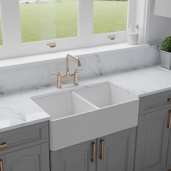 crestwood cw cl 332 dbl 33 white classic double bowl fireclay farmhouse sink