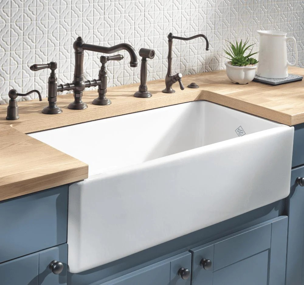 rohl shaws original lancaster 33 in fireclay farmhouse sink rc3318