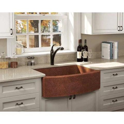 polaris p419 33 rounded apron hammered copper farmhouse kitchen sink