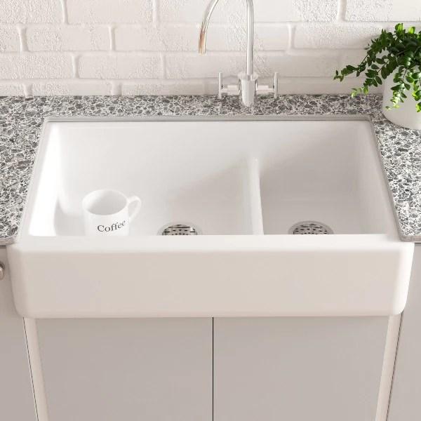 kohler whitehaven k 6427 0 35 white double bowl undermount kitchen sink with tall apron