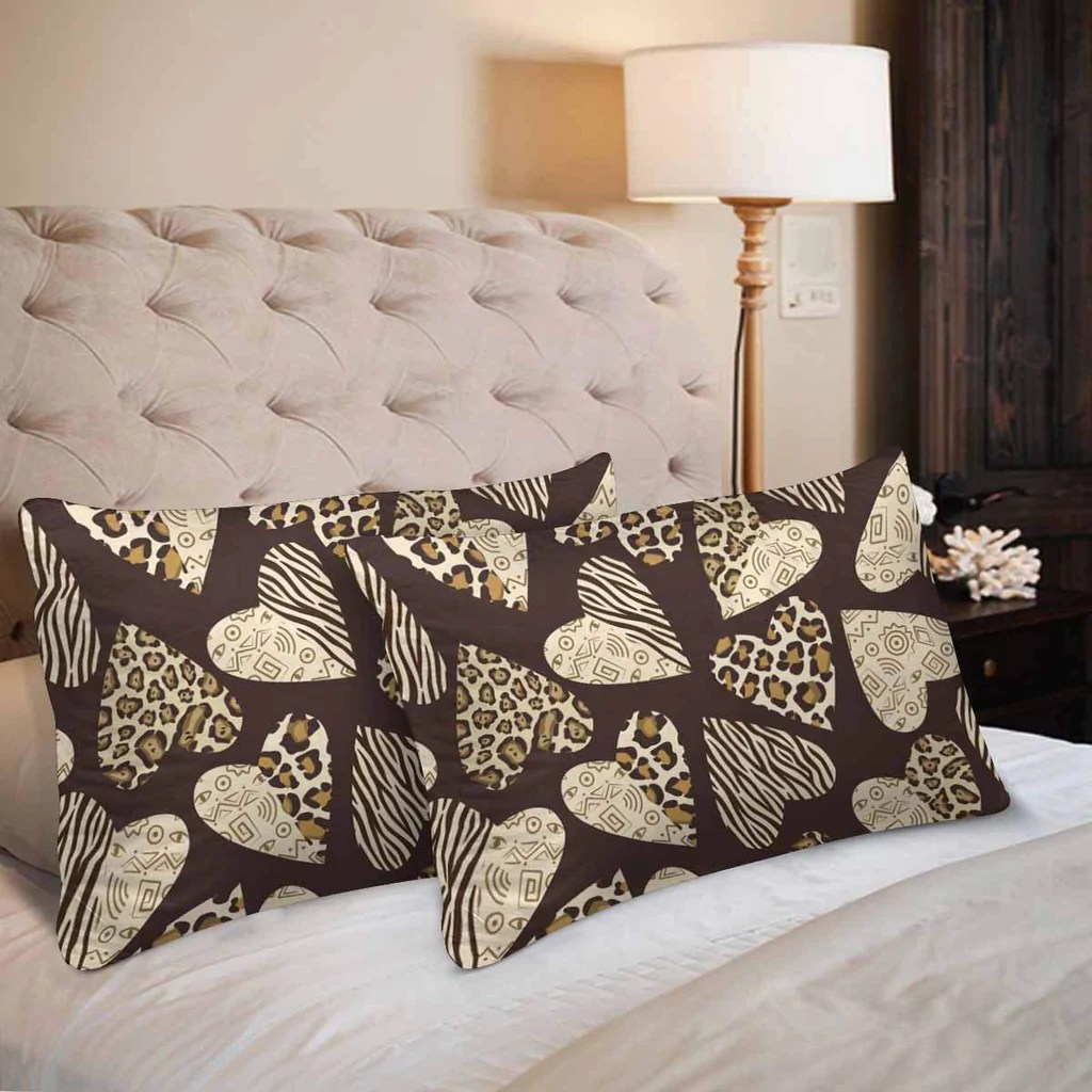hearts with animal skin print leopard zebra tiger print pillow cases p zenzzle
