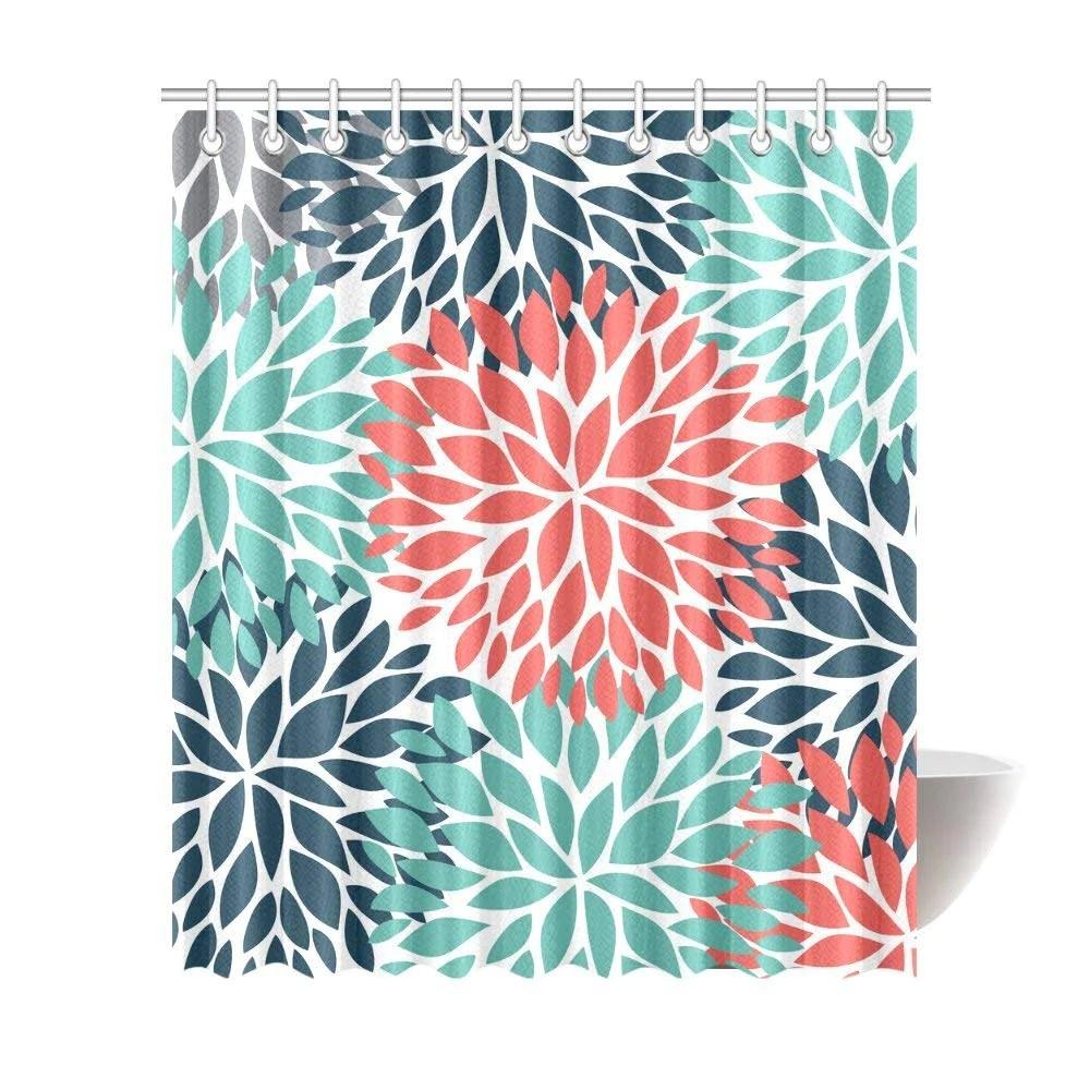 dahlia pinnata flower teal coral gray waterproof shower curtain decor fabric bathroom set with hooks