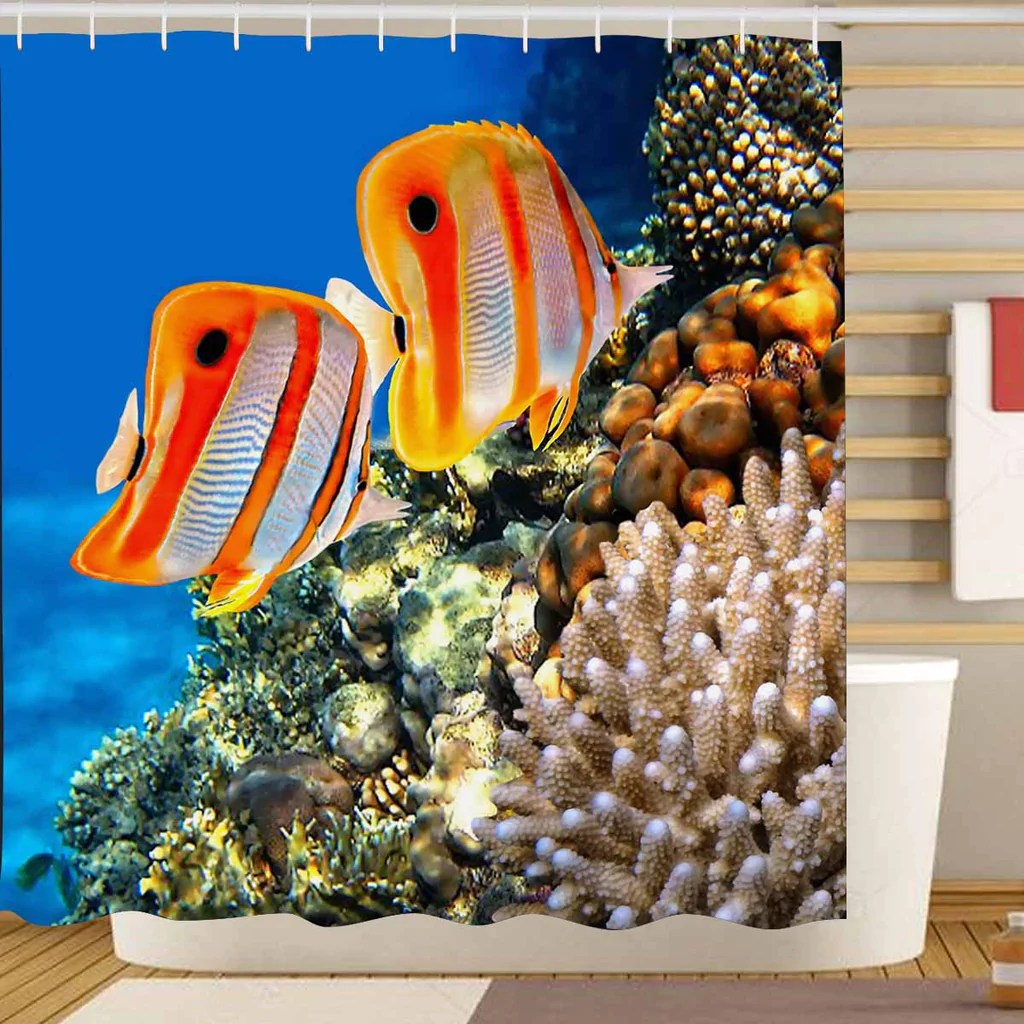 seaworld shower curtains print themed with coral reef and copperband b zenzzle