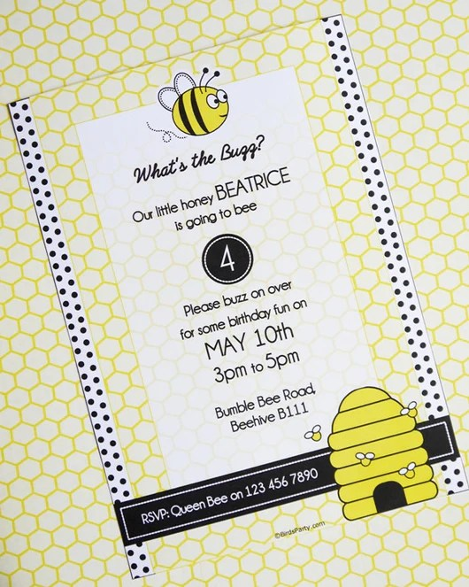 honey bee birthday party printable invitations