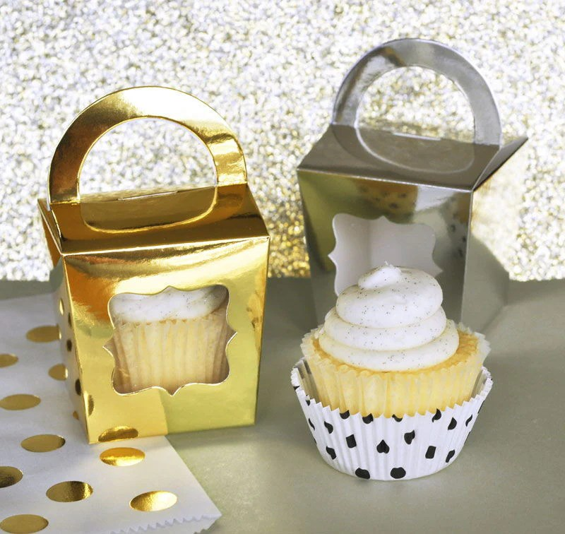 Metallic Gold And Silver Foil Favor Boxes