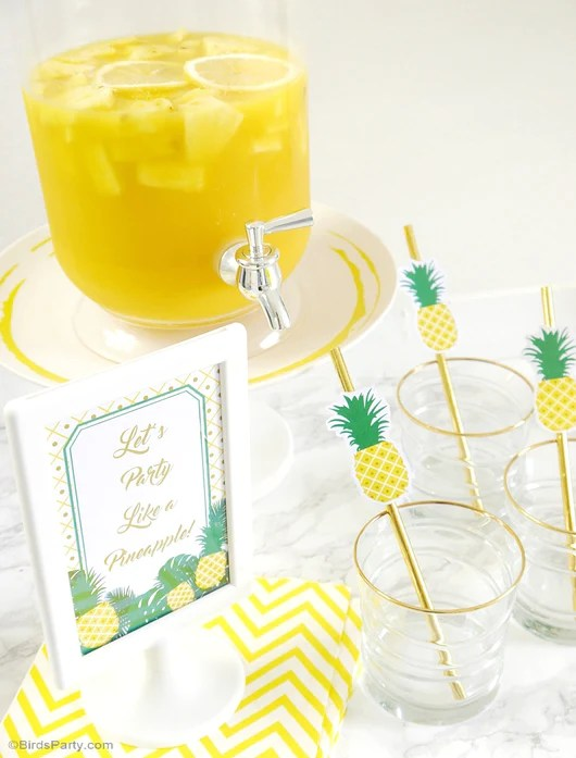 Pineapple Birthday Party Printables Supplies