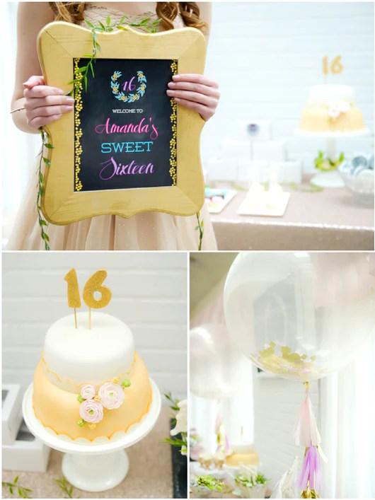 Sweet Sixteen Birthday Party Printables Supplies Birdsparty Com Bird S Party
