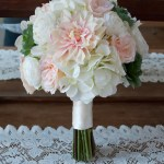 Blush Pink And Ivory Dahlia Hydrangea And Succulent Bouquet Kate Said Yes Weddings