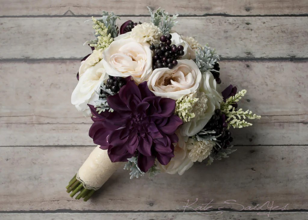 Rustic Bouquet Blush Ivory And Plum Garden Rose And