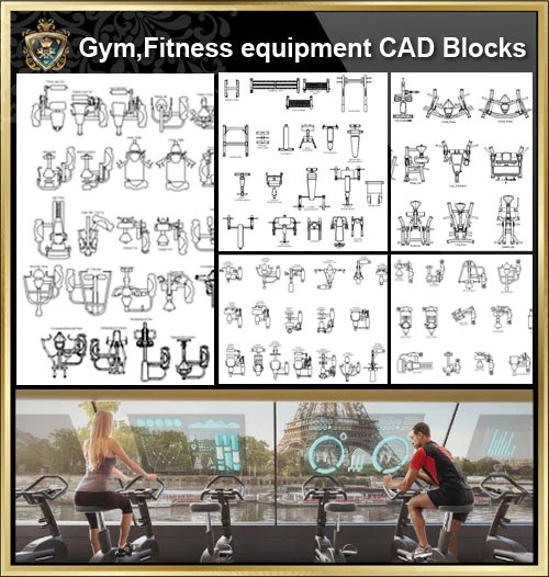 ★【All Gym,Fitness equipment CAD Blocks Bundle-Gymnasium, sports hall, gym, fitness equipment, weightlifting, dumbbells, yoga, treadmill, stepper】@Gem CAD Blocks,Autocad Blocks,Drawings,CAD Details